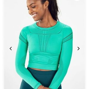NWT Fabletics Jaymee Mesh Long Sleeve Top SzXL